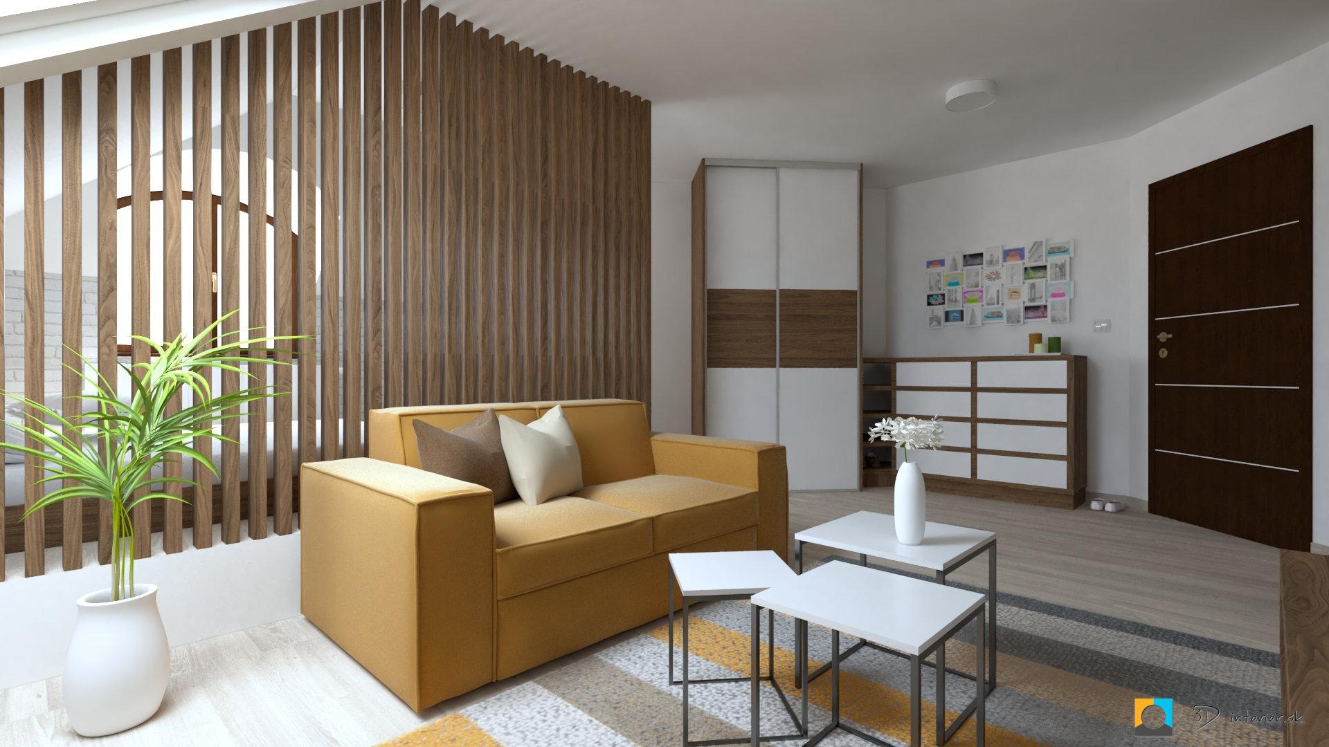 návrh interiéru izba sedačka