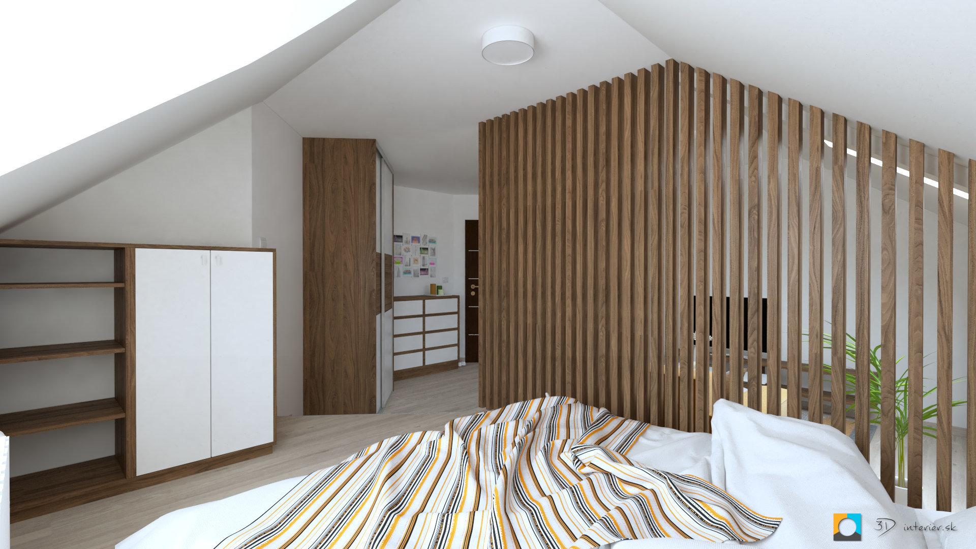 návrh interiéru izba spacia časť vyvýšesná