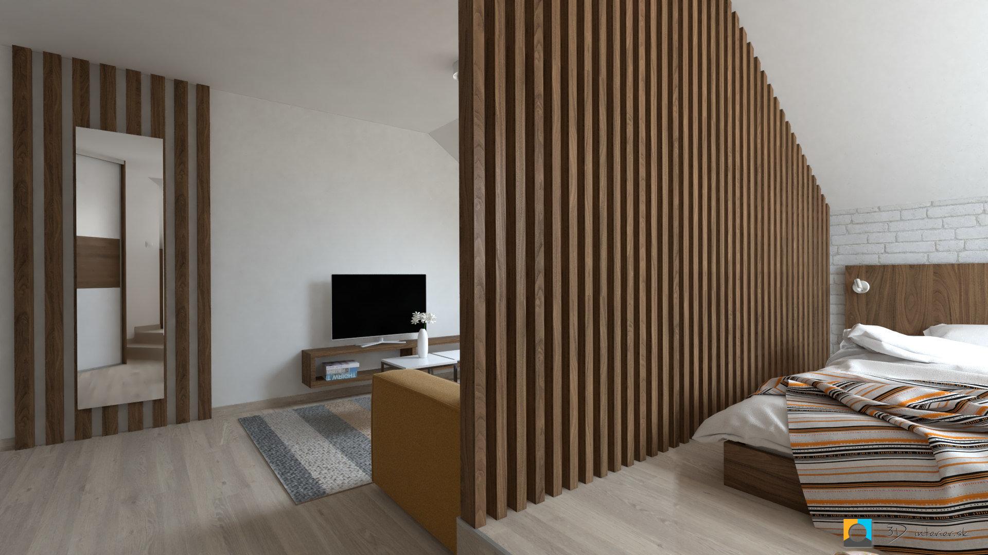 návrh interiéru izba deliaca stena tv skrinka