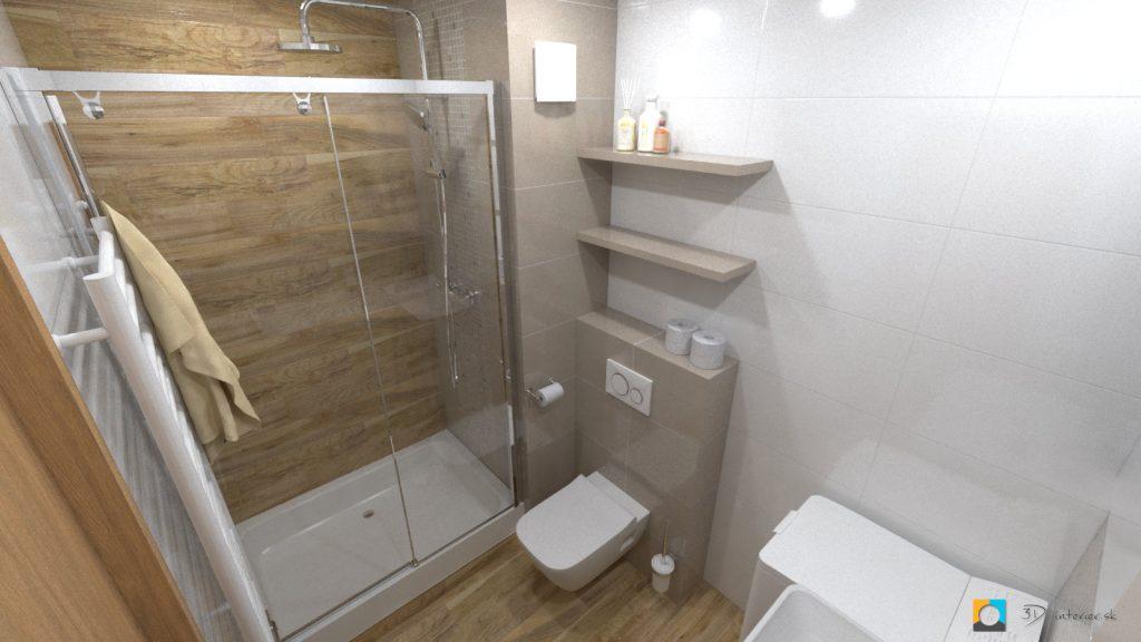 návrh kúpeľne v byte so sprchou
