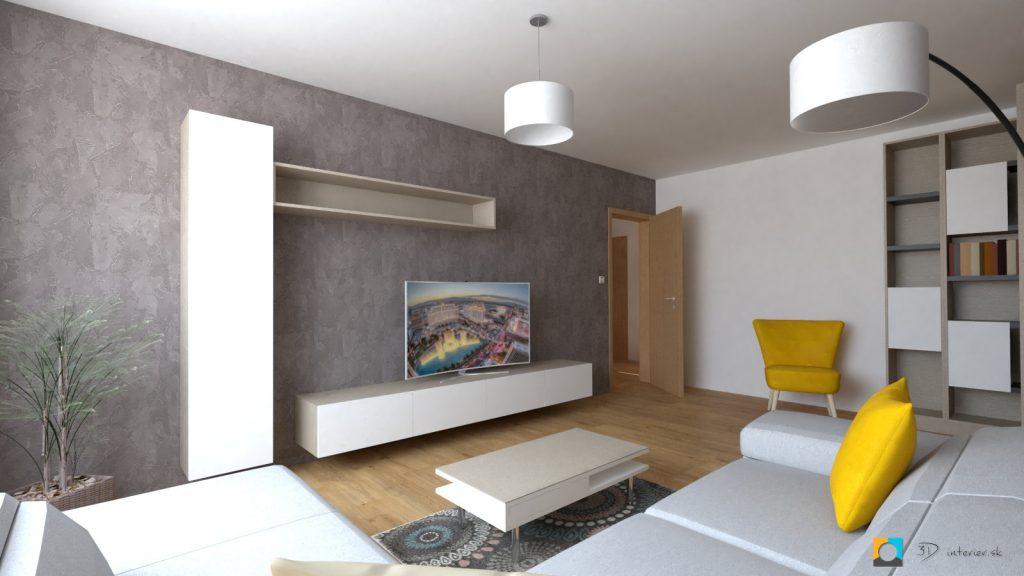 návrh interiéru bytu obývačky