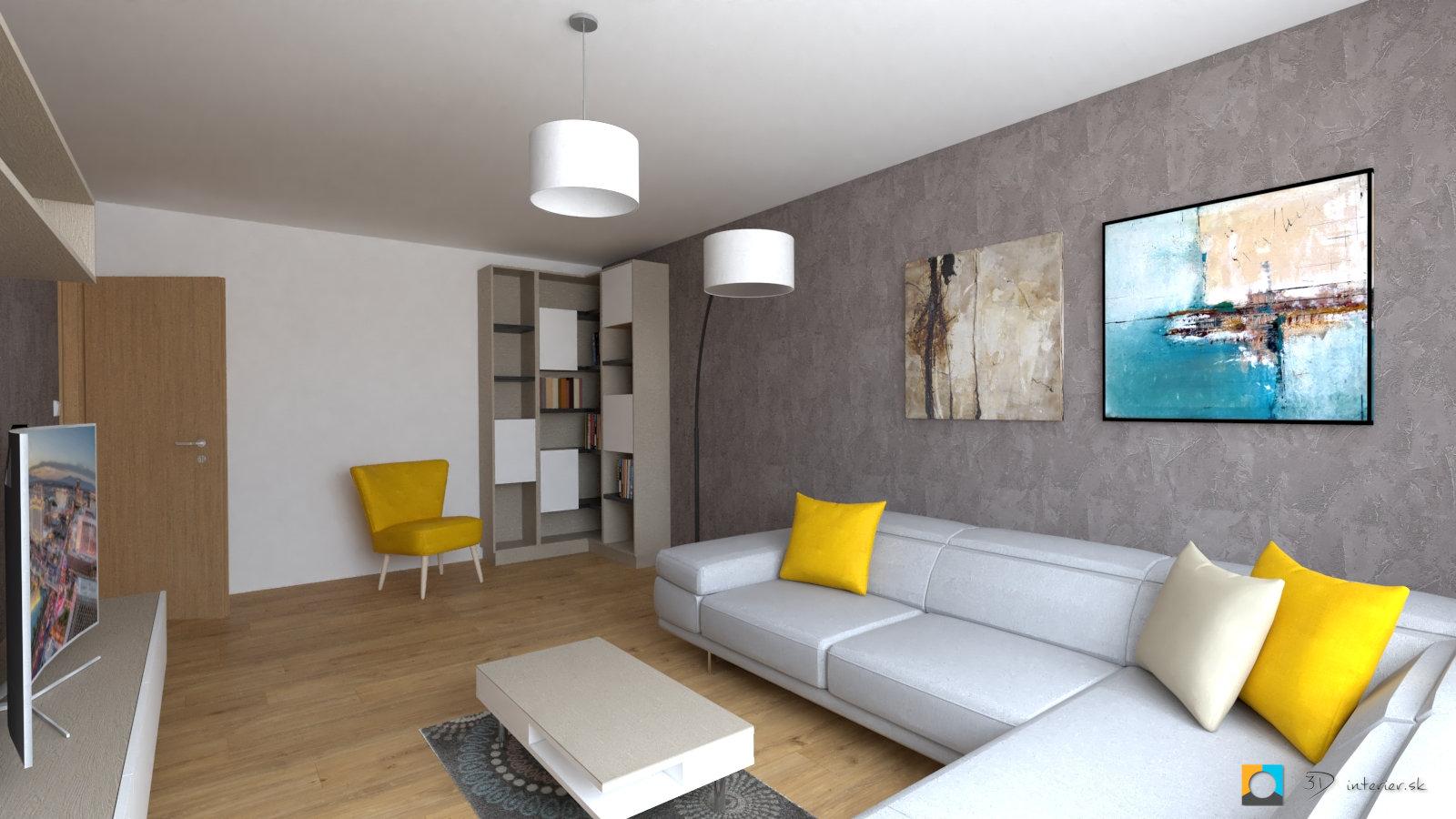 Návrh bytu – obývačka, kuchyňa a kúpeľňa