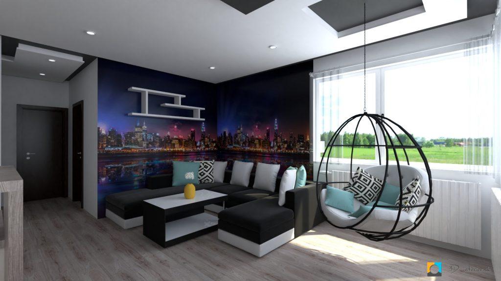 moderný interiér bytu , farebná tapeta