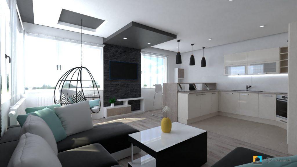 moderný interiér bytu obývačka, kameň za televíziou