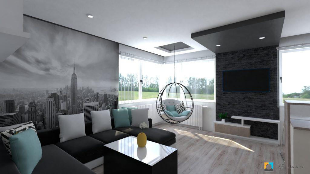 moderný interiér bytu obývačka, tapeta new york
