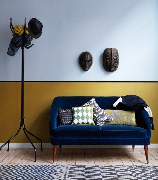 okrová a modrá, farba na stenu