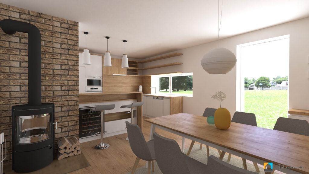 návrh kuchyne a obývačky janovce pri bardejove