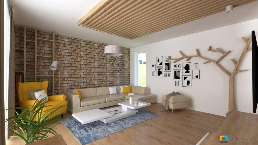 tehlová stena v obývačke janovce dizajn