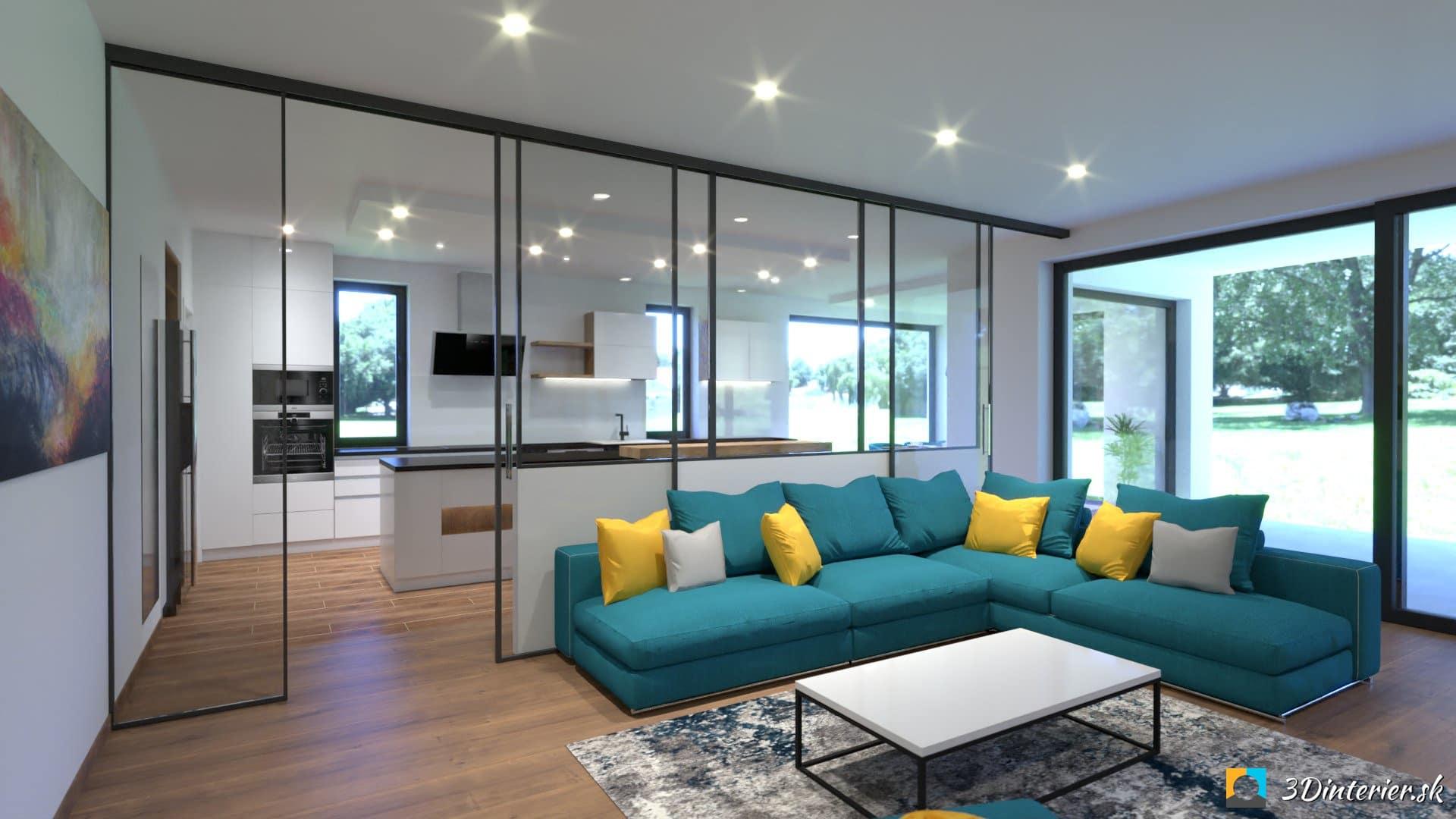 navrh interieru obyvacka tyrkysova sedačka sklenena stena