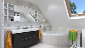 biela kúpeľňa čierna skrinka pdo umývadlo