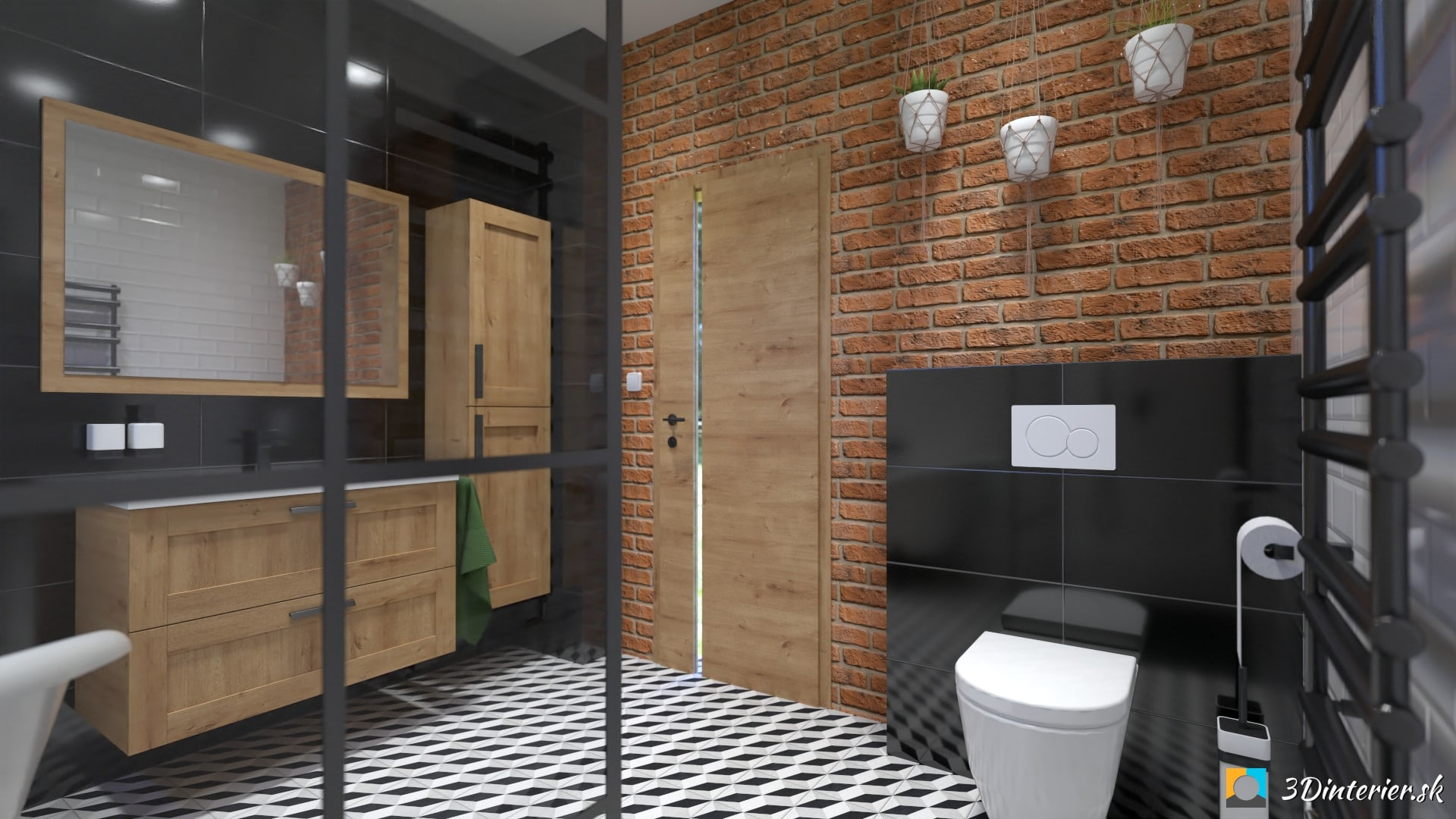 Industriálna kúpeľňa s tehlovým obkladom