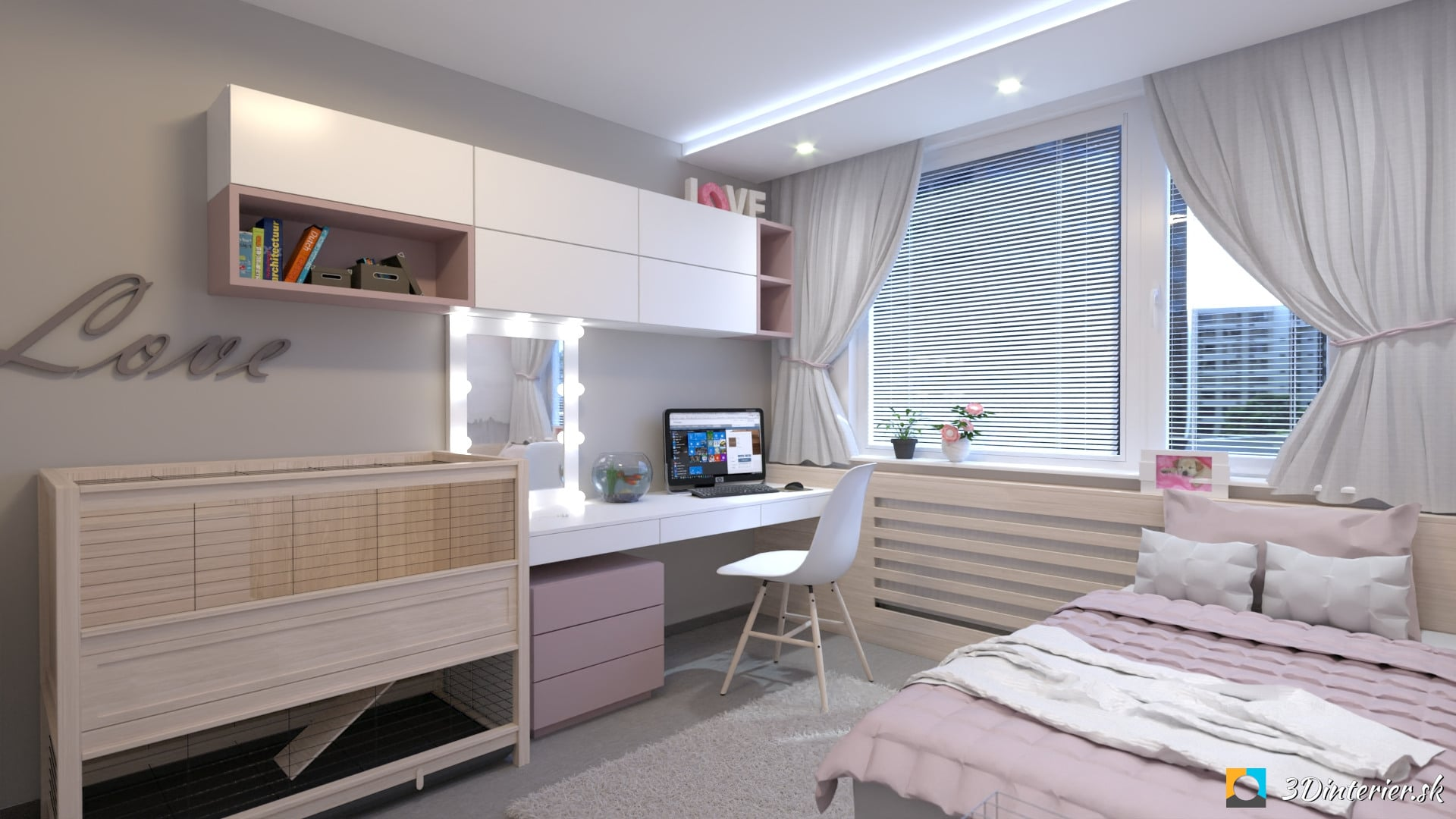 Dievčenská detská izba – sivo ružová