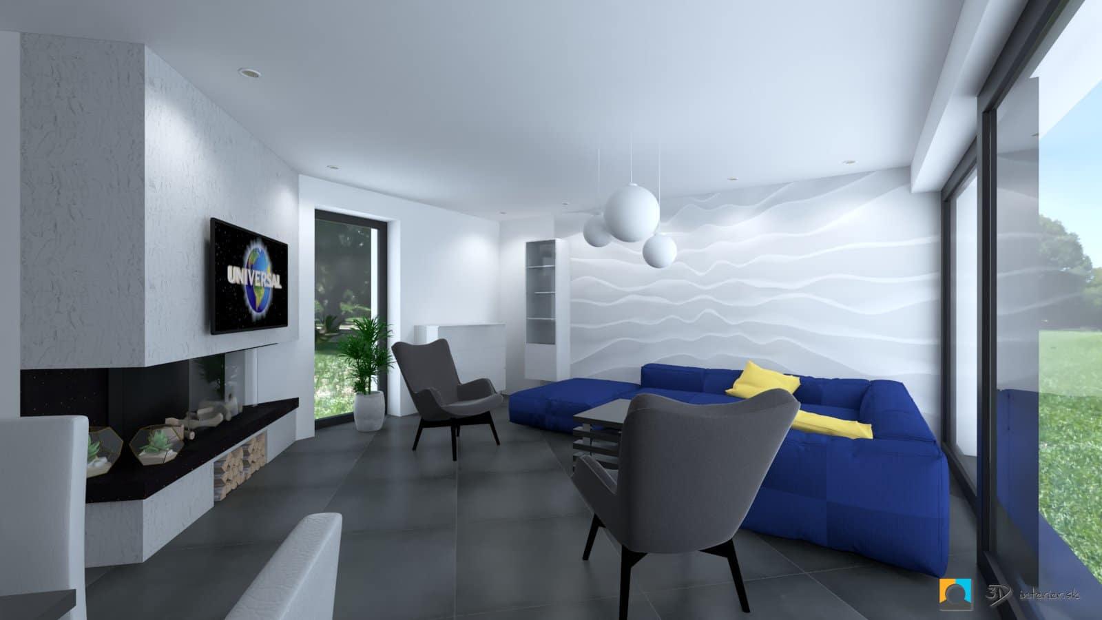 obyvacia izba s tapetou 3d