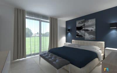 spálňa s modrou farbou