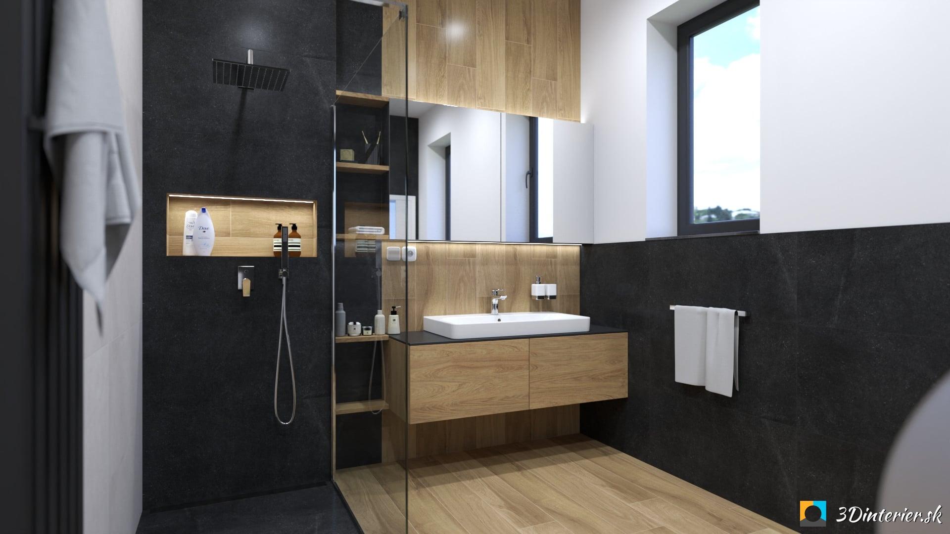 Tmavá kúpeľňa s veľkoformátovým obkladom