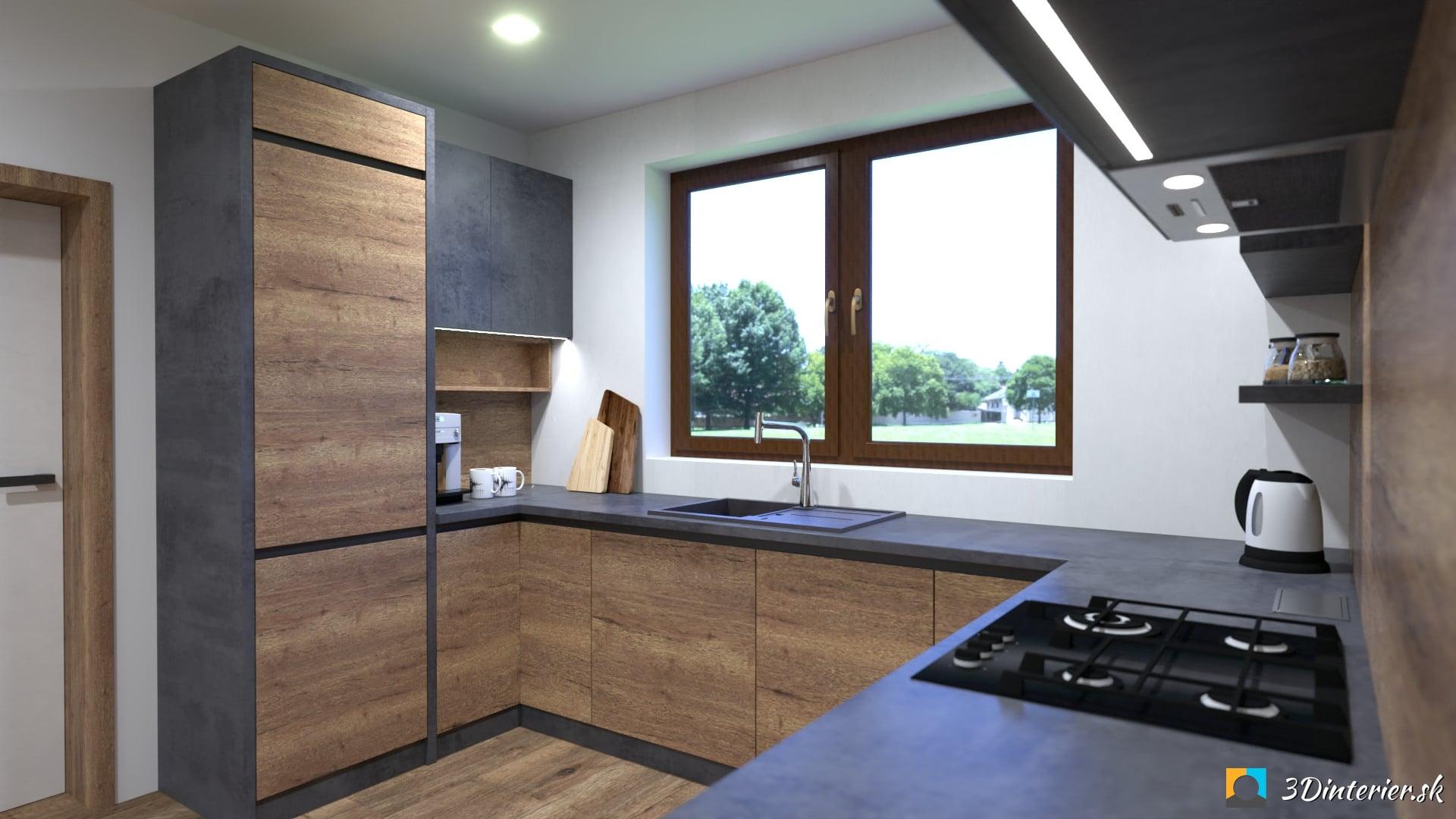industriálna kuchyňa s jedálňou dub halifax a beton
