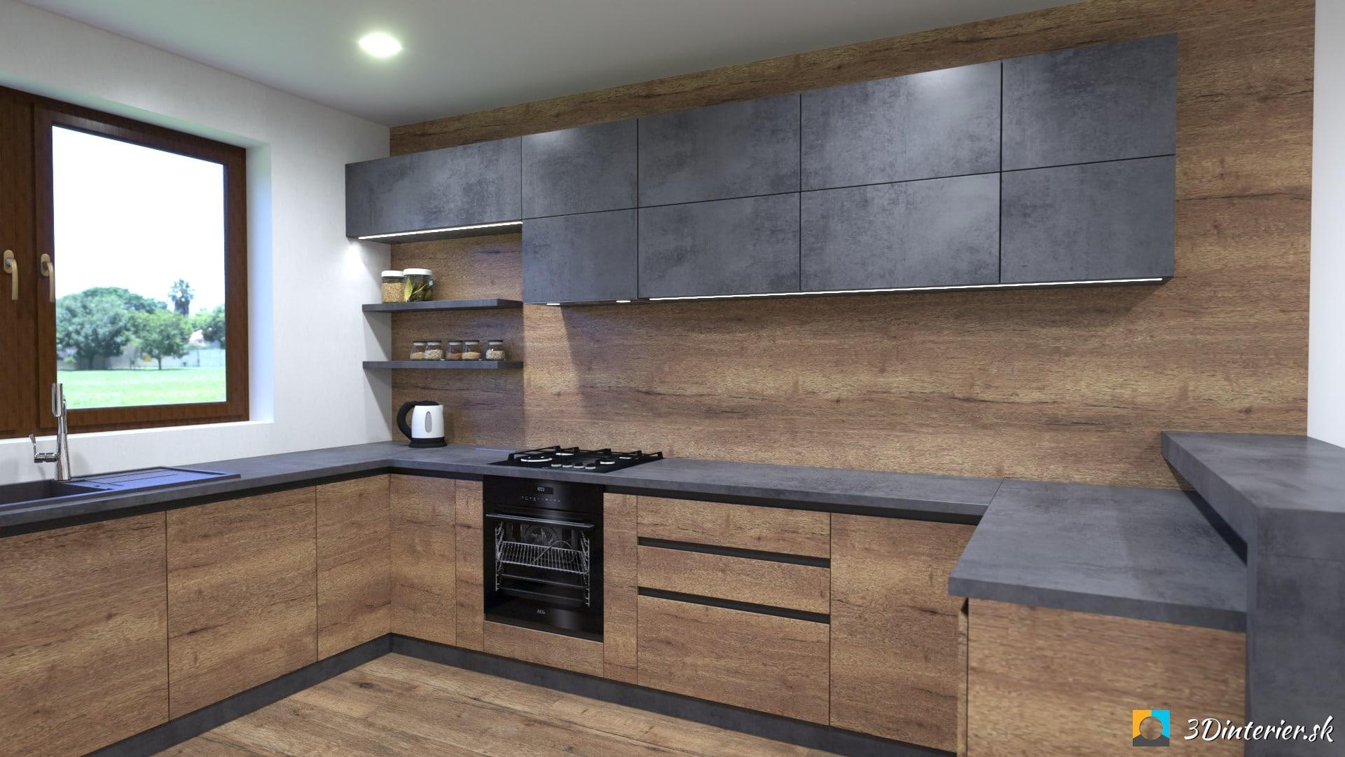 industriálna kuchyňa s jedálňou