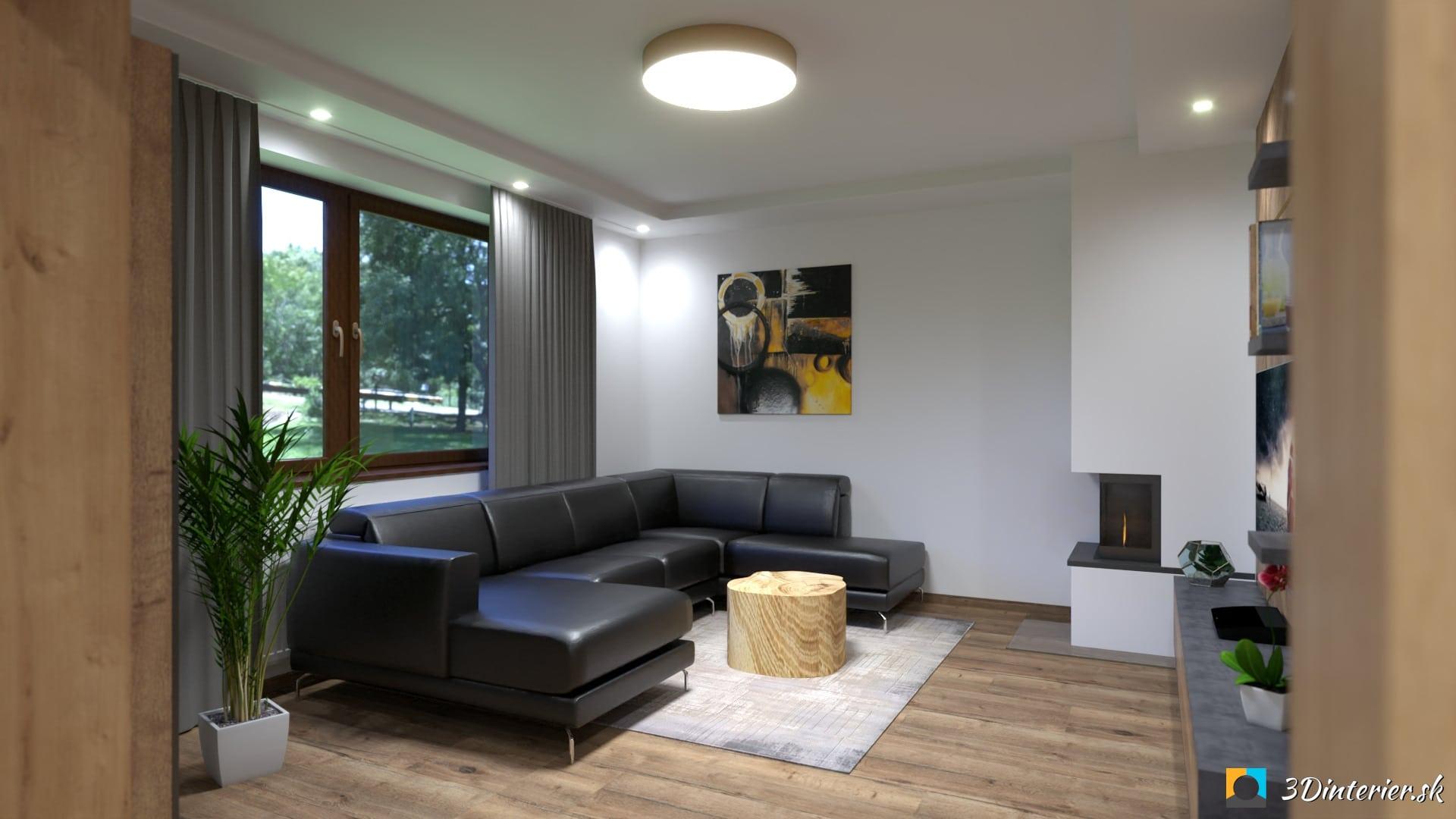 industriálna obývacia izba cierna kozena sedacka