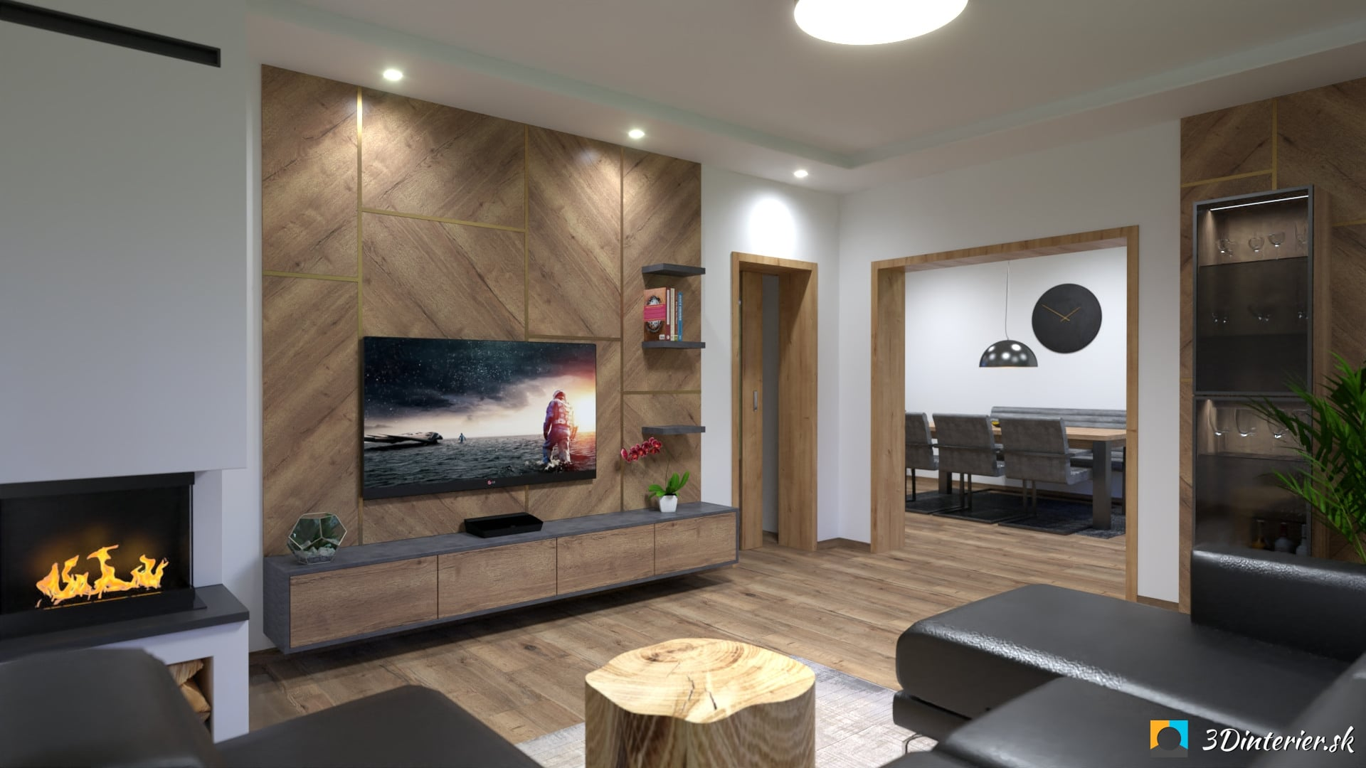Industriálna kuchyňa s jedálňou a obývacia izba REG