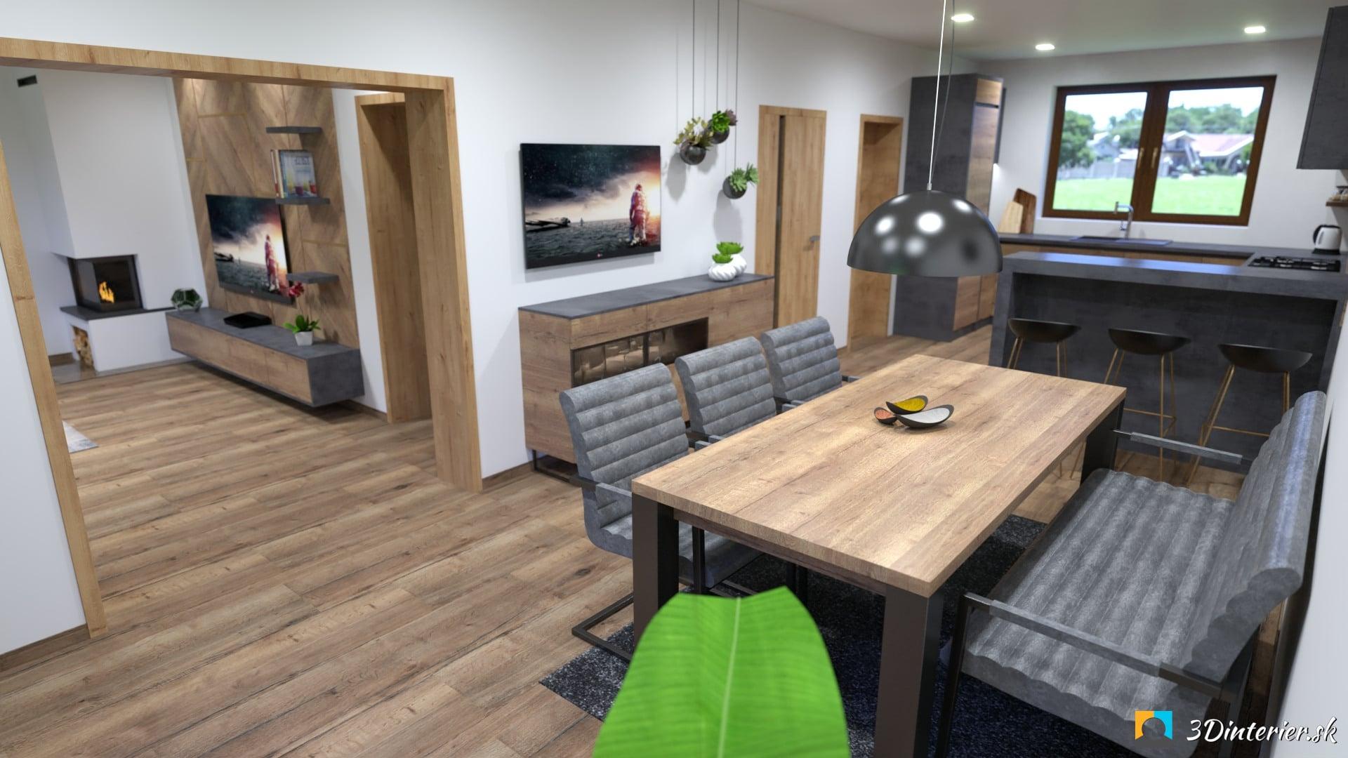 industriálna kuchyňa s jedálňou a lavicou