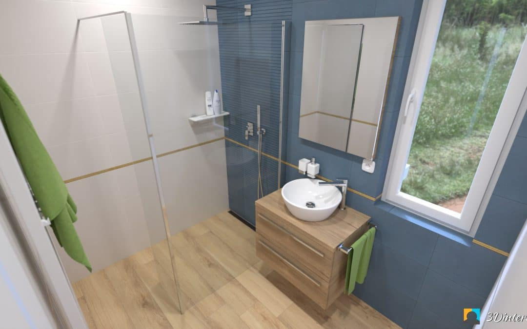 Modro-zlatá a piesková kúpeľňa a toaleta ELI