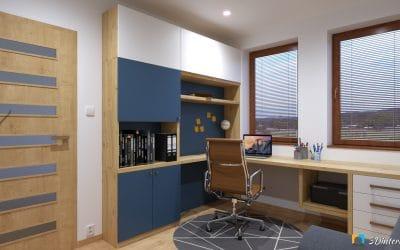 Home office 2 – Indigová modro biela pracovňa