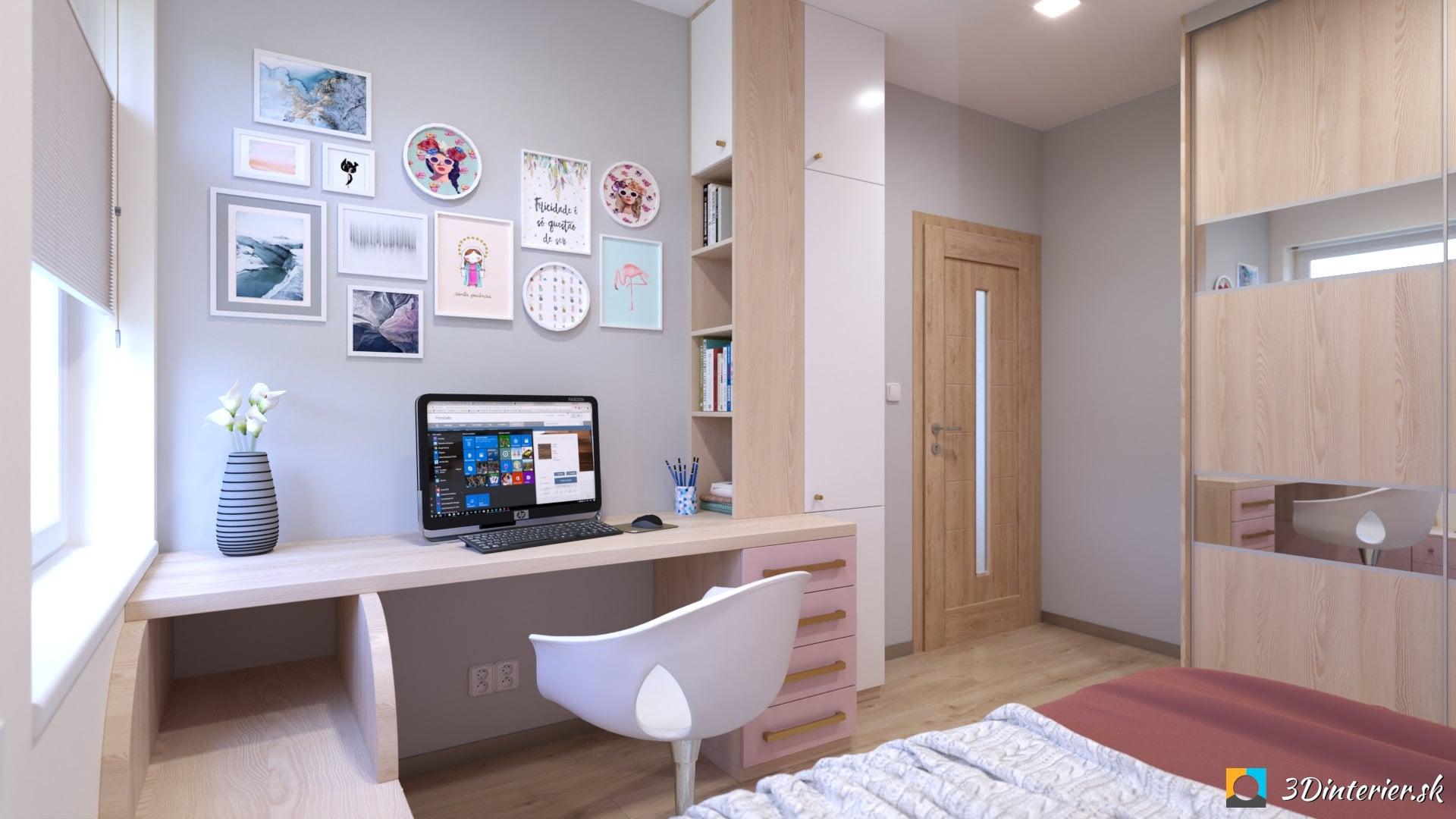 šedo ružová dievčenská izba na mieru