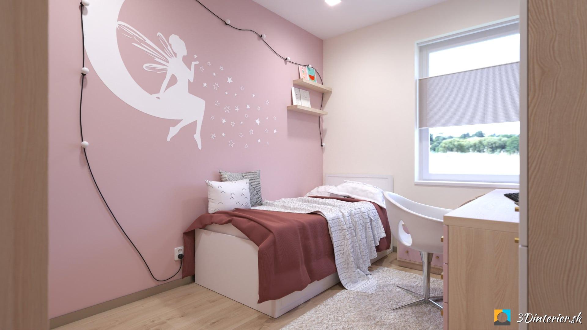ružová detská izba s vílou