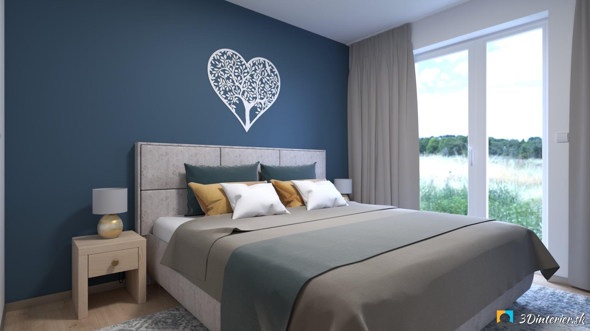 modrá stena v spálni