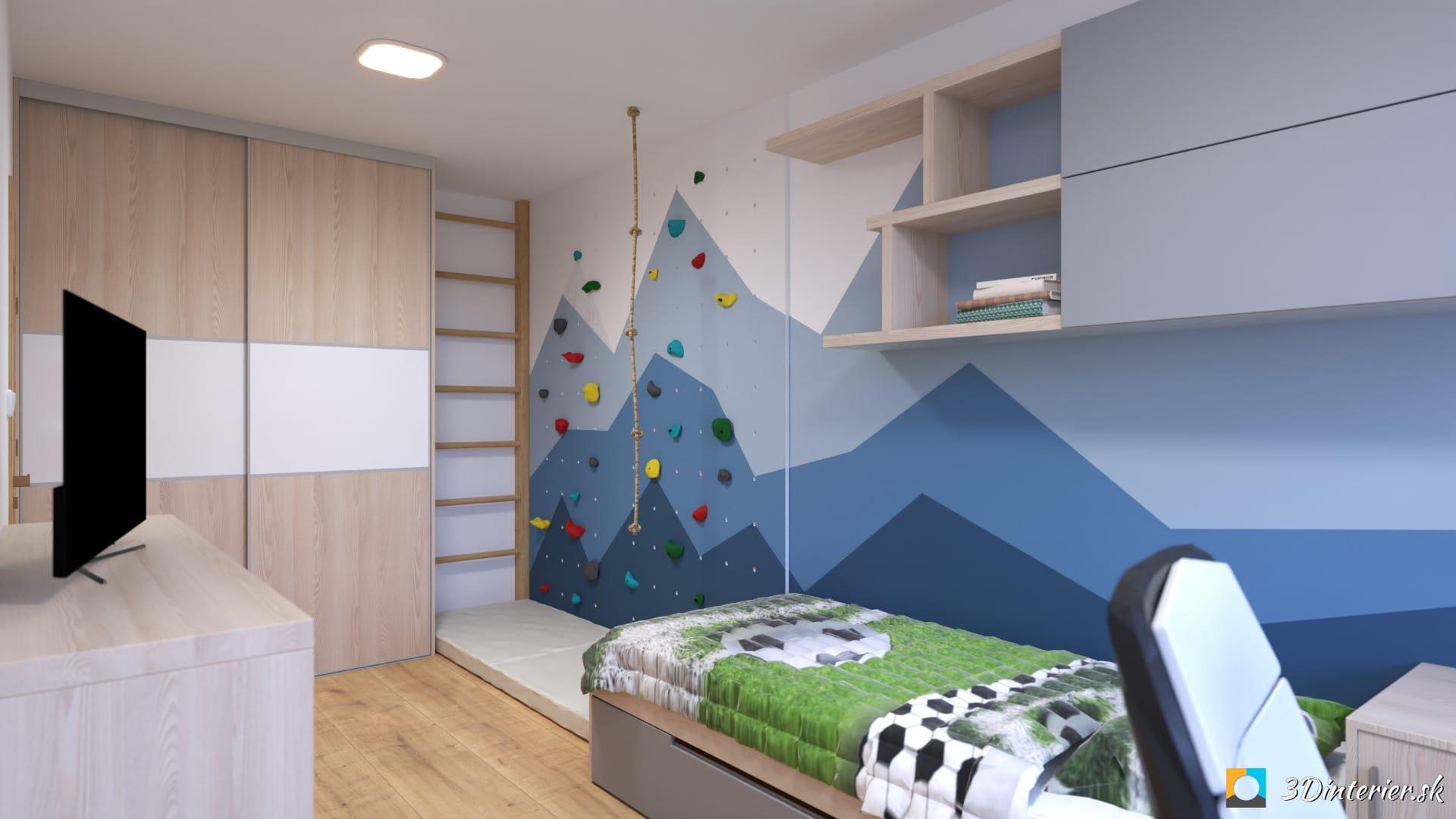 chlapcenska izba navrh na mieru lezecka stena