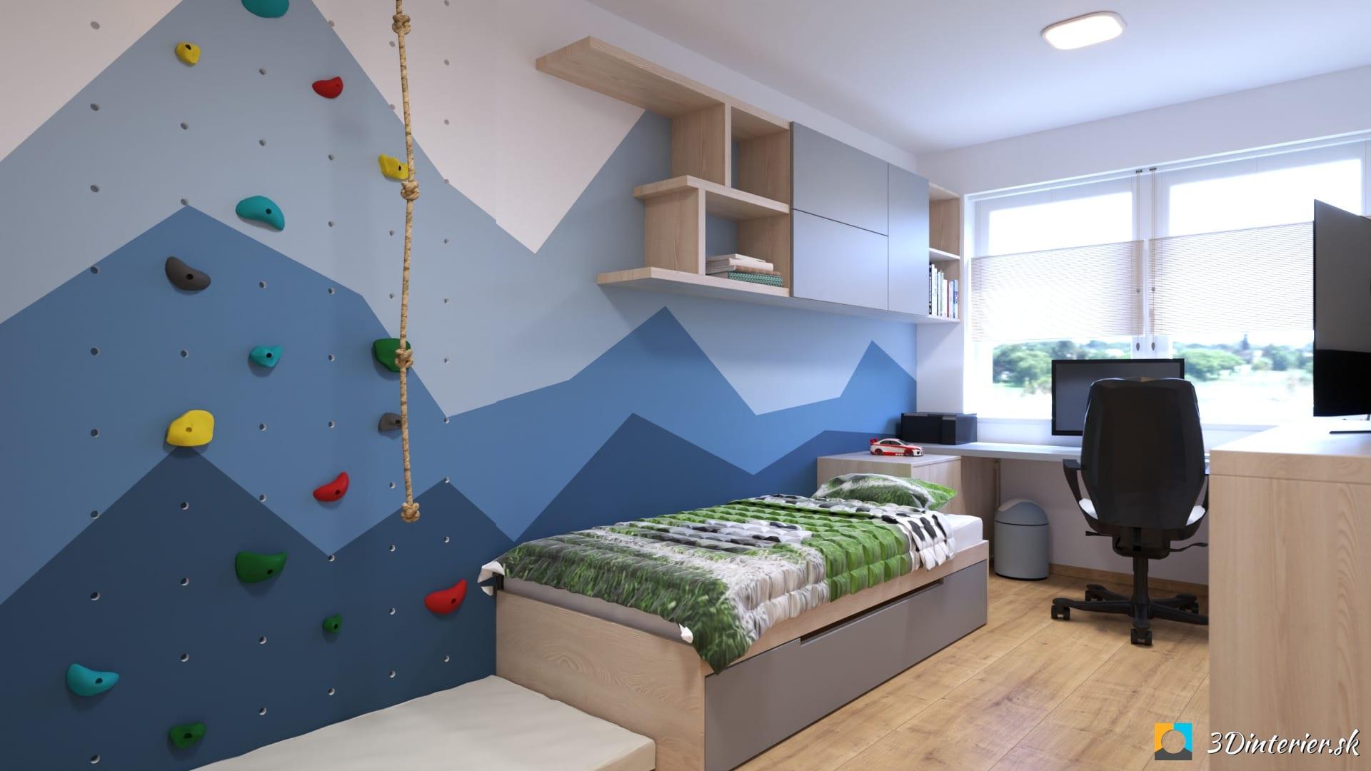 chlapcenska izba s lezeckou stenou