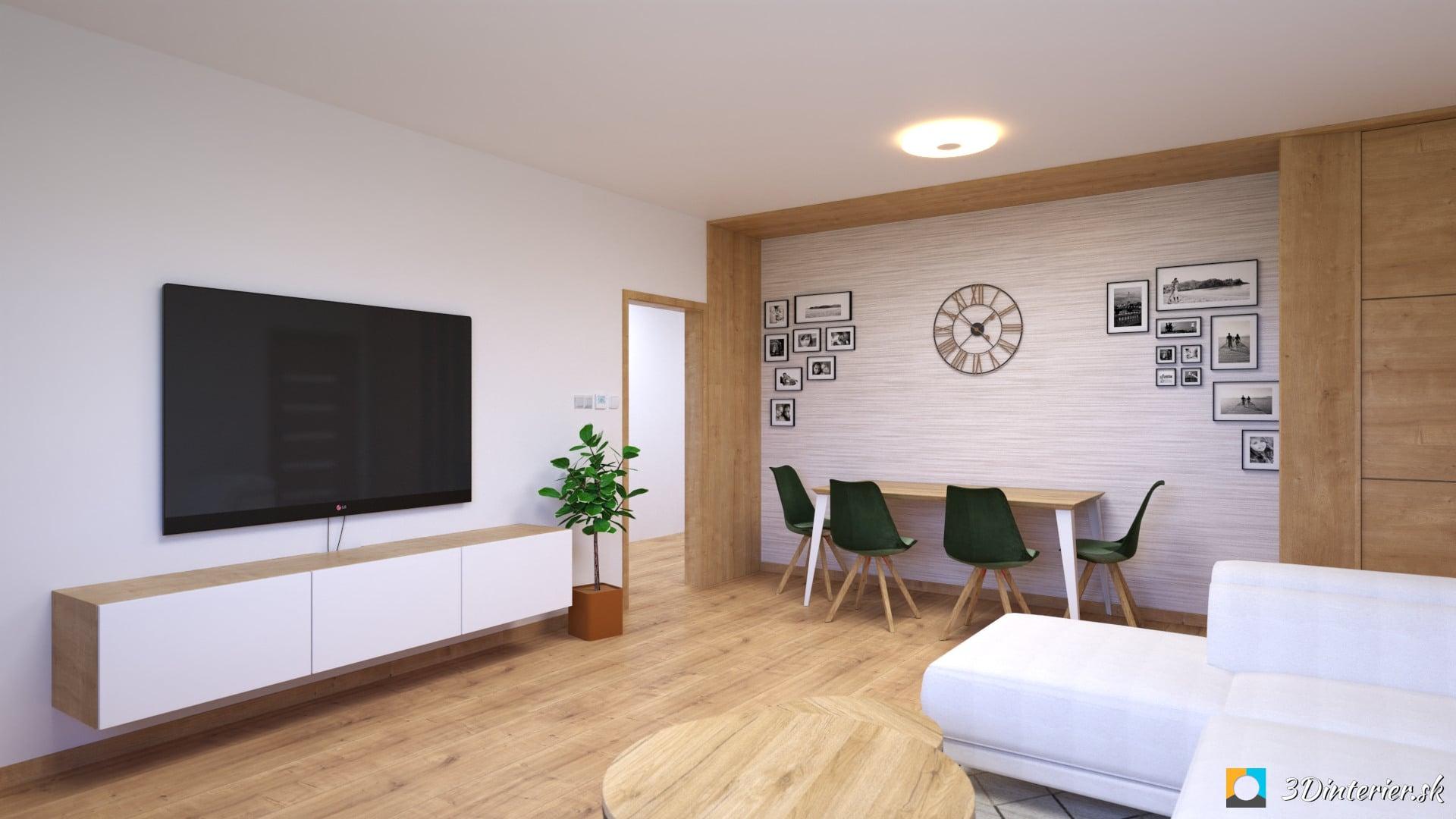 obyvacia izba s jedalenskym stolom nadčasová interiér