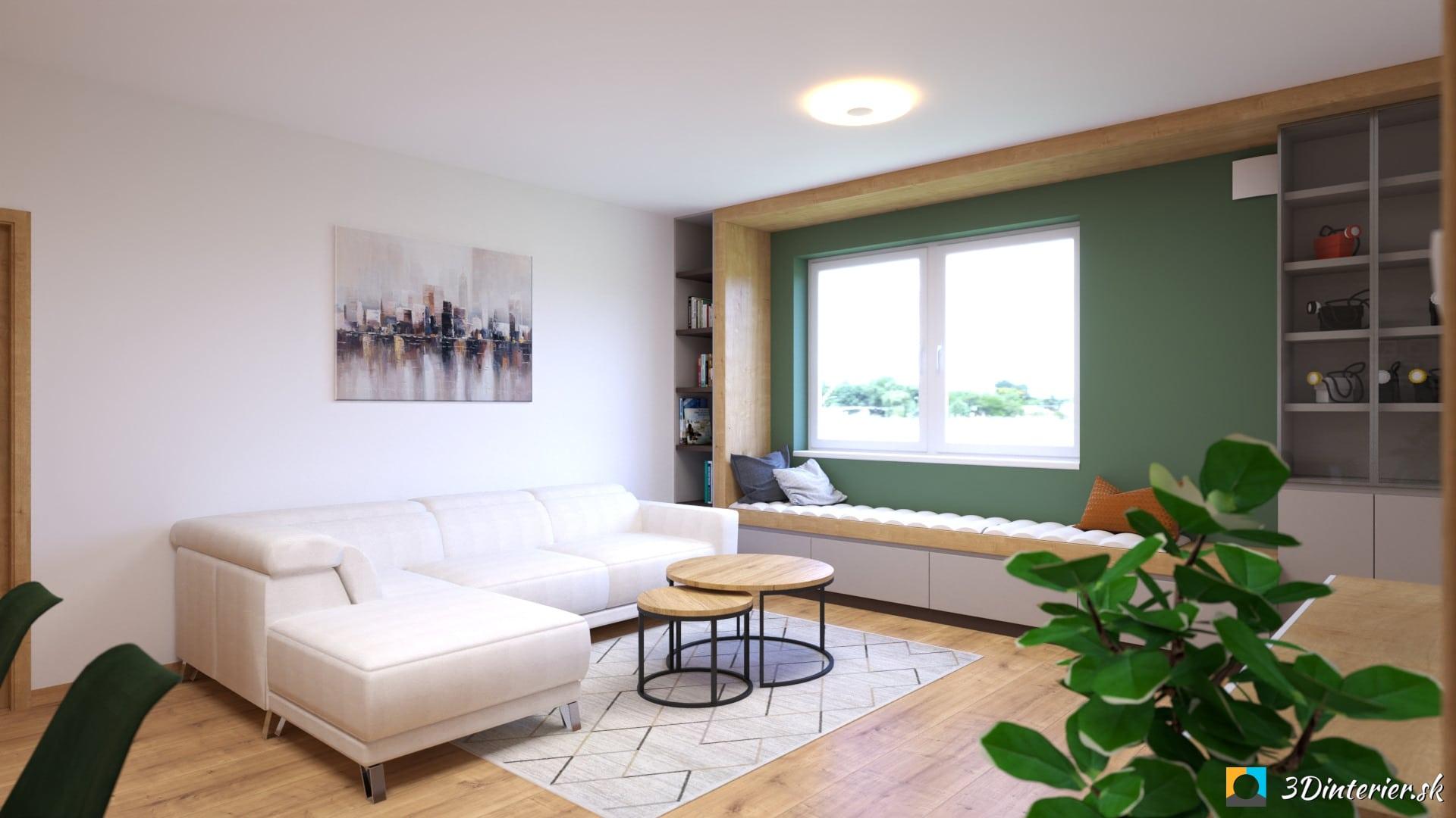 obyvacka zelena stena sedenie pod oknom nadčasový interiér